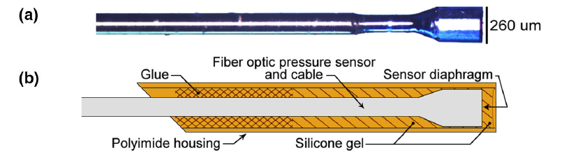 Representative images of pressure microsensor with and without housing