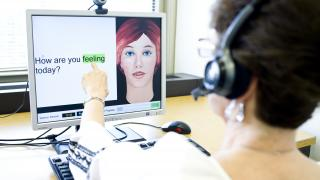 Aphasia patients practice with ORLA, speech software invented at AbilityLab