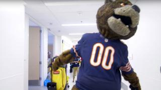 Staley the Bear's mascot visits our pediatric patients