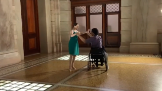 man dancing in wheel chair