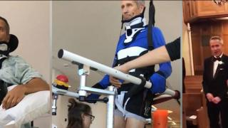 Showing the progress of Andy, a spinal cord injury patient