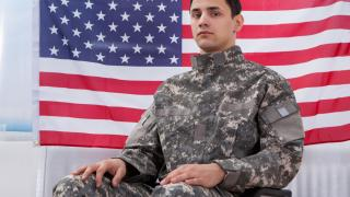 Military member in a wheelchair