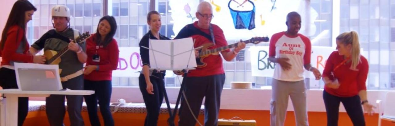 patients celebrating and playing music