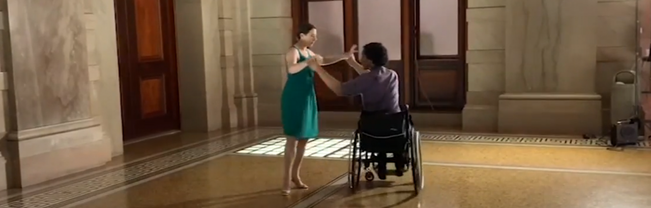 man dancing in wheelchair