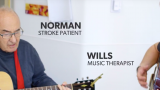 Stroke survivor works on music thearpy